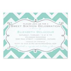 White And Blue Chevron Sweet Sixteen Invitation Card