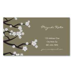 White Cherry Blossoms Sakura Spring Flowers Branch Double-Sided Standard Business Cards (Pack Of 100)