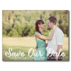 White Rustic Script Photo Save Our Date Postcard