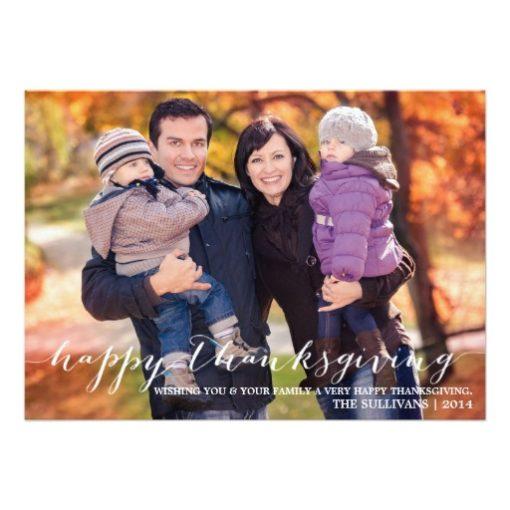 White Script Happy Thanksgiving Photo Card Invitation Card
