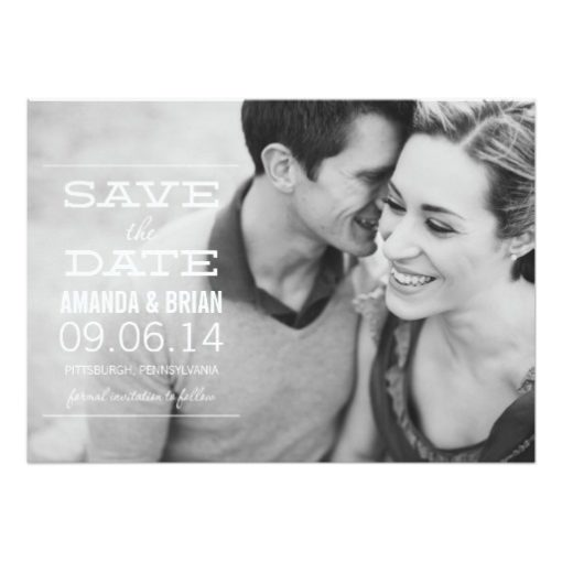White Text Photo Save The Date Announcement Invitation Card