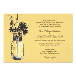 Wild Flowers & Mason Jar Wedding Invitation Card