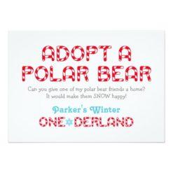 Winter Onederland Birthday | Polar Bear Favor Sign Invitation Card