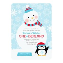 Winter Onederland Birthday | Snowman And Penguin Invitation Card