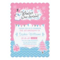 Winter Onederland Snowman Pink Blue 1St Birthday Invitation Card