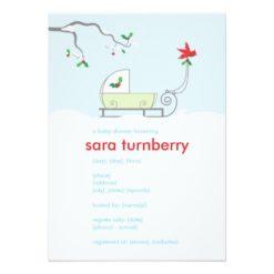 Winter Sled Baby Shower Invitation Card