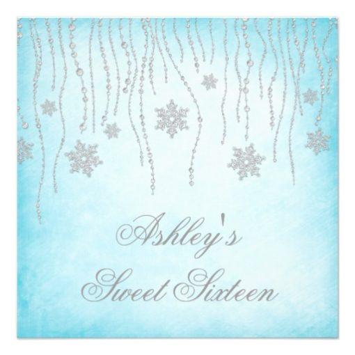 Winter Wonderland Diamond Snowflakes Sweet 16 Square Paper Invitation Card
