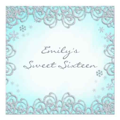 Winter Wonderland Swirl Snowflakes Sweet 16 Square Paper Invitation Card