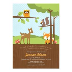 Woodland Critters Baby Shower Invitation Card