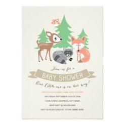 Woodland Friends Baby Shower Invitation Card