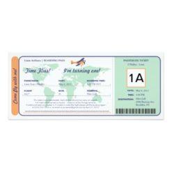 World Map Birthday Boarding Pass Ticket Invitation Card