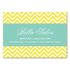 Yellow And Aqua Modern Chevron Stripes Large Business Cards (Pack Of 100)