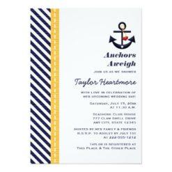 Yellow And Navy Nautical Bridal Shower Invitation Card
