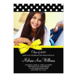 Yellow Bow Polka Dot Photo Graduation Announcement Invitation Card