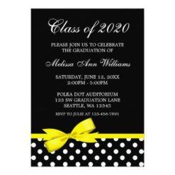 Yellow Bow Polka Dots Graduation Announcement Invitation Card