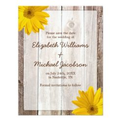 Yellow Daisy Barn Wood Save The Date Announcement Invitation Card