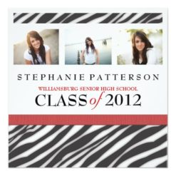Graduation Glamour Girl Zebra Print With Red Square Paper Invitation Card