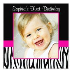 Zebra Hot Pink Girls Photo 1St Birthday Party Square Paper Invitation Card