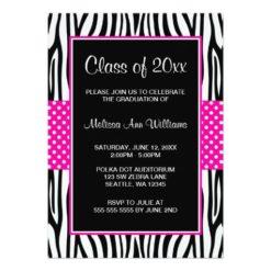 Zebra Hot Pink Polka Dot Graduation Announcement Invitation Card