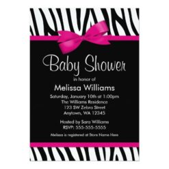 Zebra Hot Pink Printed Bow Baby Shower Invitation Card