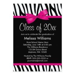Zebra Hot Pink Printed Bow Graduation Party Invitation Card