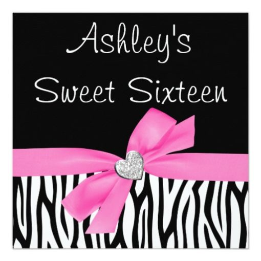 Zebra Pink Bow Diamond Sweet 16 Invitations Square Invitation Card