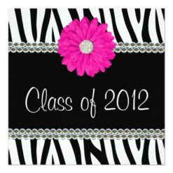 Zebra Pink Daisy Faux Gems Graduation Announcement Square Invitation Card