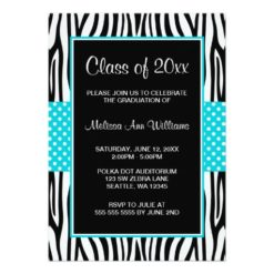Zebra Teal Polka Dot Graduation Announcement Invitation Card