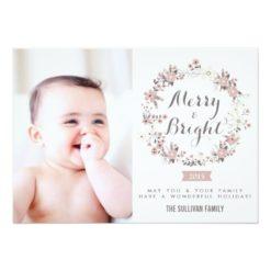 Blush And Gray Christmas Wreath Holiday Photo Card Invitation Card