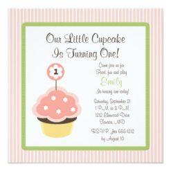Cute Personalize Pink Cupcake Birthday Invitations Square Invitation Card
