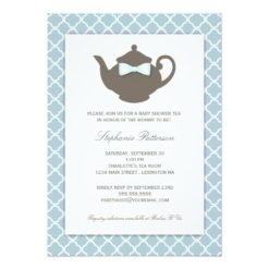 Sweet Blue   Brown Teapot Baby Shower Tea Party Invitation Card