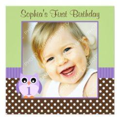 Purple Green Owl Polka Dot 1St Birthday Girl Photo Square Paper Invitation Card