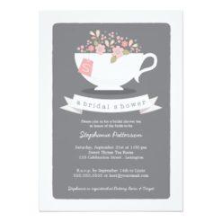 Sweet Teacup Pink Floral Bridal Shower Invitation Card