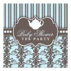Chic Damask & Stripe Baby Shower Tea Invitation Square Invitation Card