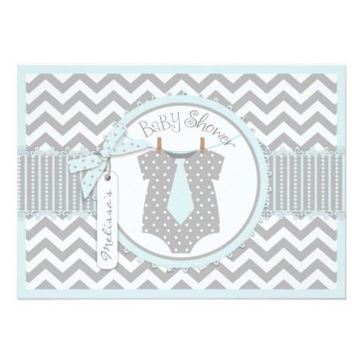 Baby Boy Tie Chevron Print Baby Shower Invitation Card