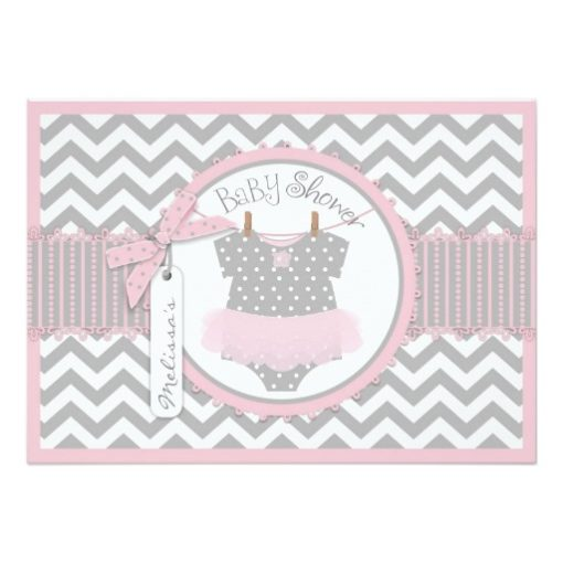 Baby Girl Tutu Chevron Print Baby Shower Invitation Card
