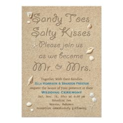 Beach Sandy Toes Salty Kisses Wedding Invitation