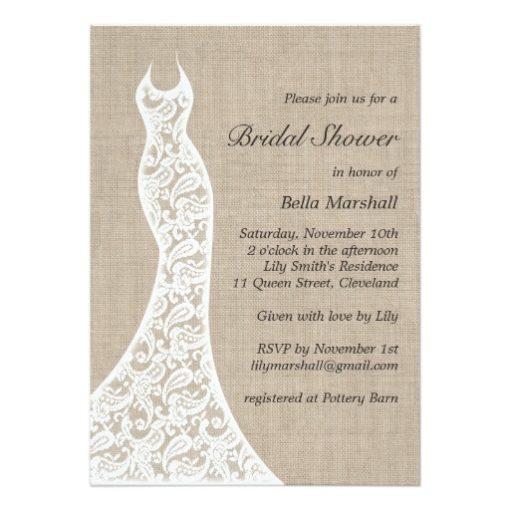Beautiful Burlap Bridal Shower Invitation