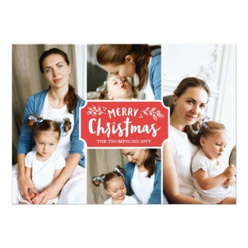 Family Portrait Holiday 4 Photo Card
