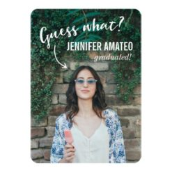 Guess What? | Modern Typography Photo Graduation Invitation Card
