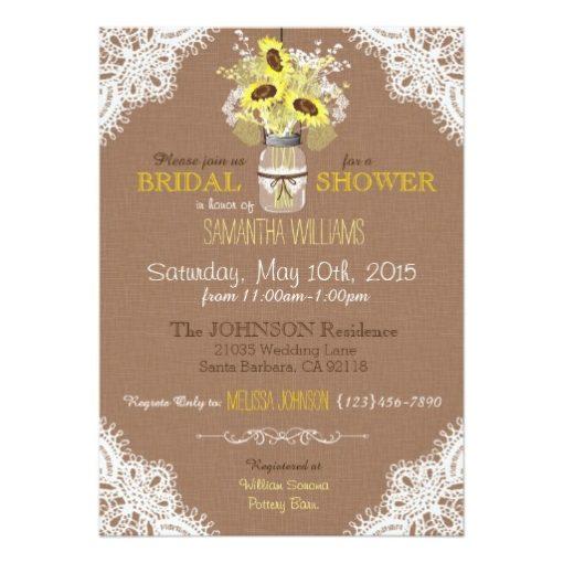 Lace Mason Jar Sunflower Rustic Bridal Shower Invitation Card