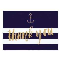 Modern Nautical Stripes Wedding Thank You Invitation Card