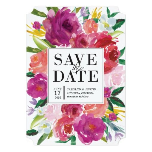 Modern Watercolor Flowers Wedding Save The Date Invitation Card