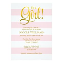Pink And Faux Gold Stripes Girl Baby Shower Invitation Card