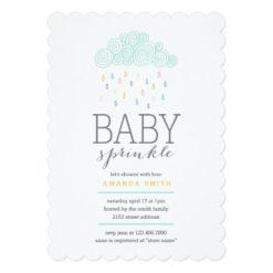 Rain Clouds Baby Shower Invitation Card