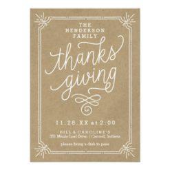 Rustic Kraft Frame Family Thanksgiving Dinner Invitation Card