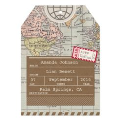 Rustic Vintage Travel Map Save The Date Card