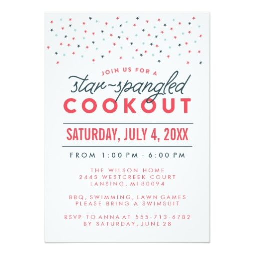 Star Spangled Cookout 4Th Of July Party Invitation