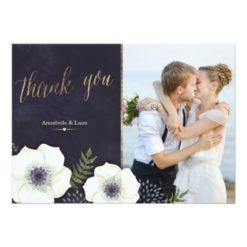 Summer Night Flowers Wedding Thank You Card