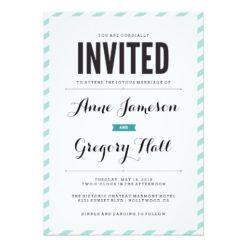 Teal Carnival Stripes Modern Wedding Invitation